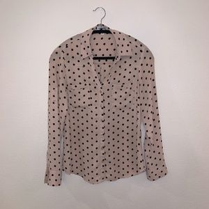 Express Button Down Sheer Polka Dot Blouse
